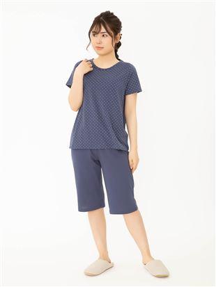 ドット天竺パジャマ(半袖×5分丈パンツ)|