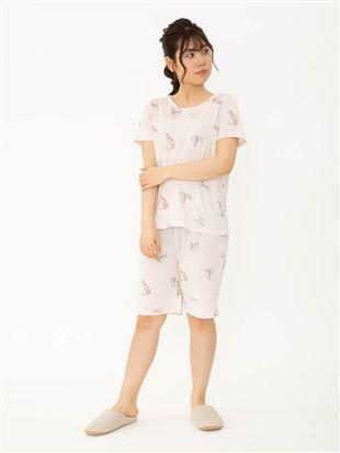 サマーランドリー柄天竺パジャマ(半袖×3分パンツ)|
