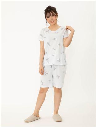 サマーランドリー柄天竺パジャマ(半袖×3分パンツ)|パジャマ