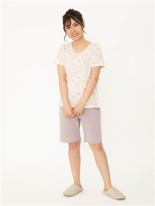 シェル柄天竺パジャマ(半袖×3分丈パンツ)|