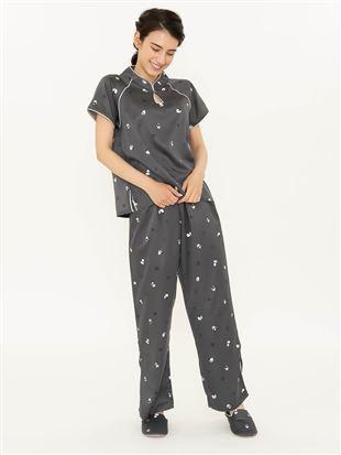 パンダ柄チャイナ風サテンパジャマ(半袖×ロングパンツ)|パジャマ
