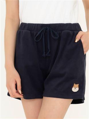 パイル柴犬もこもこ刺繍1分丈パンツ|