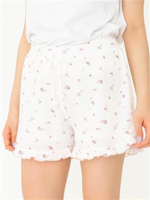 ◆【橋下美好オリジナル】ワッフル花柄ショートパンツ|ボトム