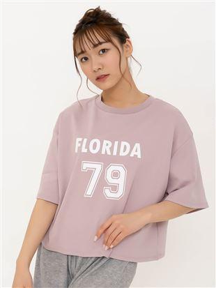 綿混スムースナンバリングプリント5分袖Tシャツ|トップス