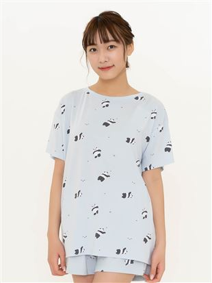 パンダ総柄ドロップショルダーTシャツ|
