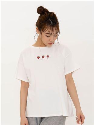 ◆【橋下美好オリジナル】コットンいちごプリントTシャツ|トップス