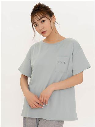 ◆【橋下美好オリジナル】くつ下刺繍ポケット付きTシャツ|トップス