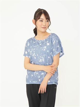 [スポーツ]メッシュ花柄プリントTシャツ|