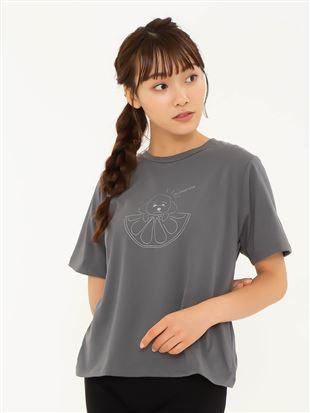 わんこフルーツ柄ゆったりTシャツ|トップス