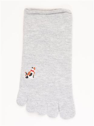 綿レーヨンシルク後ろ猫刺繍5本指くるぶしソックス|5本指ソックス