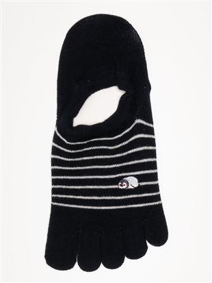 綿混ぐでペンギン刺繍5本指ローカットくるぶしソックス|5本指ソックス