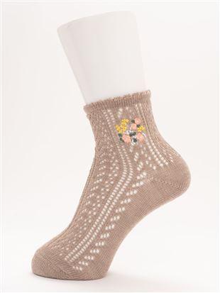 履き口ゆったり花刺繍ルミーソックス12cm丈|