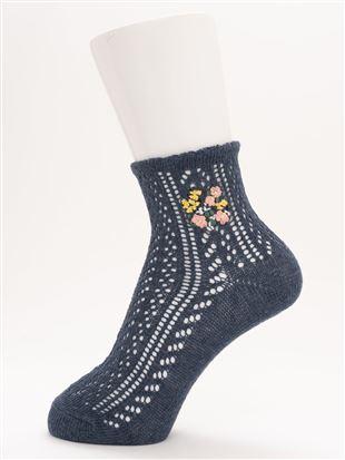 履き口ゆったり花刺繍ルミーソックス12cm丈 