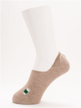 [ストレス0靴下]綿混パンとコーヒー刺繍調深履きカバー|カバーソックス・フットカバー