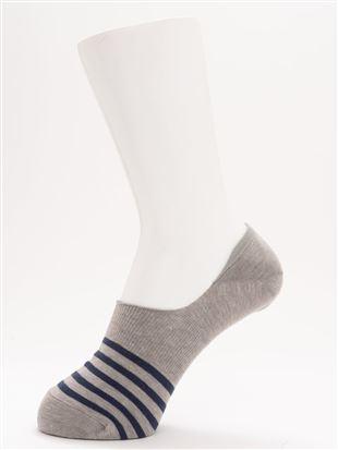 [ストレス0靴下]綿混ボーダー超深履きカバーソックス|カバーソックス・フットカバー