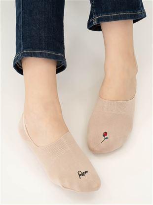 [ストレス0靴下]ローズワンポイント刺繍深履きカバーソックス|カバーソックス・フットカバー