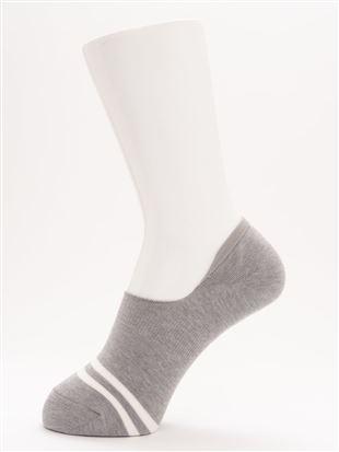 [ストレス0靴下]DRY・デオドラント2本ライン超深履きカバーソックス|カバーソックス・フットカバー