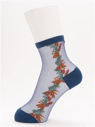 [レディライン]ボタニカル花柄シースルーソックス13cm丈|