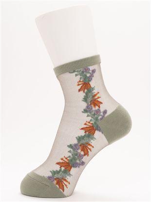 [レディライン]ボタニカル花柄シースルーソックス13cm丈|クルーソックス
