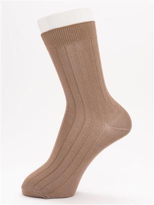 [レディライン]光沢糸太リブソックス18cm丈|クルーソックス