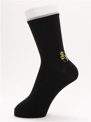 [ちょうどいい靴下]夏ねこ刺繍温調ソックス16cm丈|クルーソックス