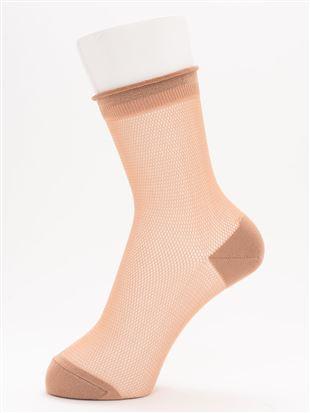 [レディライン]レーヨンメッシュ口くるソックス17cm丈|クルーソックス