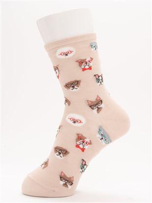 [ちょうどいい靴下]メガネわんちゃん温調ソックス15cm丈|クルーソックス