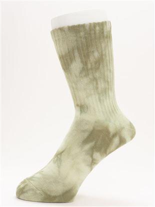 [メンズ]綿混アメリブタイダイ染めソックス17.5cm丈|