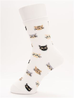 [ちょうどいい靴下]猫総柄温調ソックス14cm丈 クルーソックス