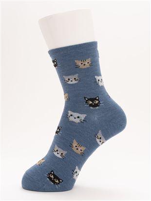 [ちょうどいい靴下]猫総柄温調ソックス14cm丈|