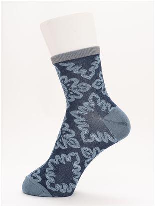 [レディライン]光沢糸履き口ラメフロートアフリカン柄ソックス13cm丈|クルーソックス