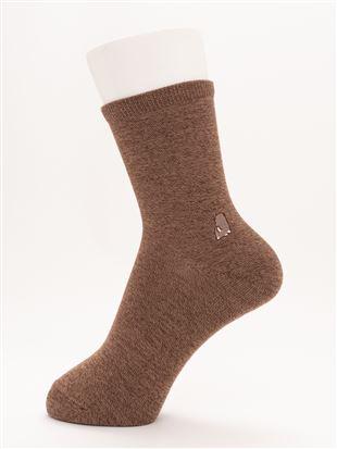 [ちょうどいい靴下]左右違い犬刺繍温調ソックス16cm丈|