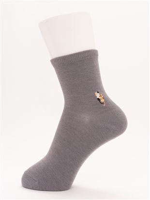 [ちょうどいい靴下]ねこ刺繍温調ソックス13cm丈|