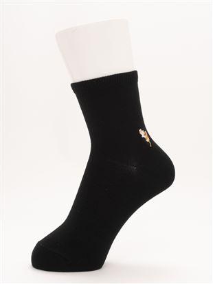[ちょうどいい靴下]ねこ刺繍温調ソックス13cm丈 クルーソックス
