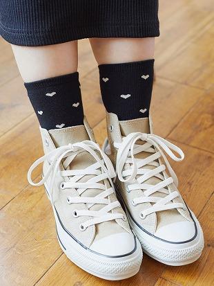 [ちょうどいい靴下]ハート総柄温調ソックス16cm丈|