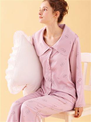 ビッグカラー付きビション柄サテンパジャマ|パジャマ