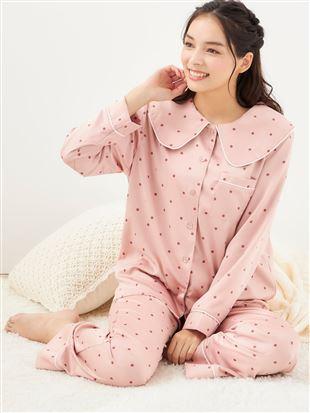 【橋下美好オリジナル】ビッグカラー付きドット柄サテンパジャマ パジャマ