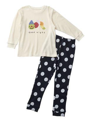 [キッズ]いもむし柄ワッフルパジャマ|