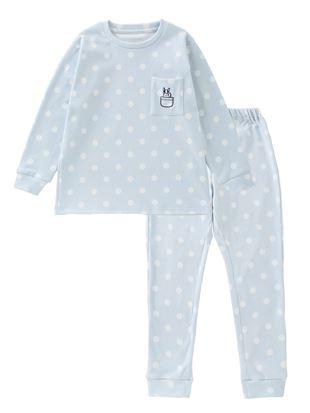 [キッズ]フレンチブルドット柄フリースパジャマ|キッズパジャマ・ルームウェア