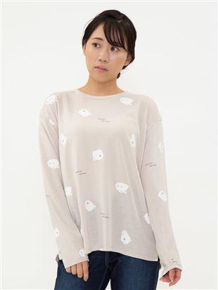 もふもふポメラニアン総柄ロングTシャツ|トップス