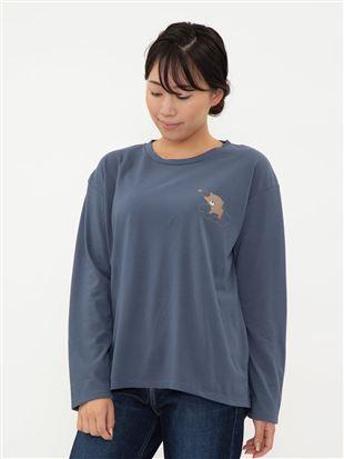 ワンポイントくま柄ロングTシャツ|トップス