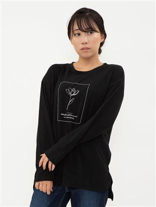 線描きフラワー柄ロングTシャツ|トップス