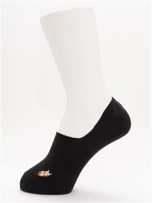 [ストレス0靴下]綿混しば犬刺繍深履きカバーソックス|カバーソックス・フットカバー