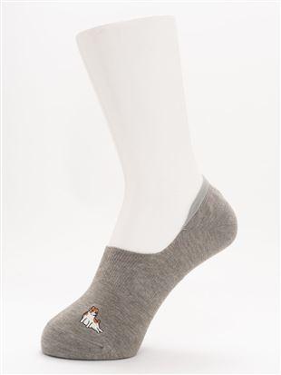 [ストレス0靴下]綿混へんな座り方ねこ刺繍深履きカバーソックス|カバーソックス・フットカバー