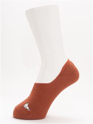 [ストレス0靴下]綿混へんな座り方ねこ刺繍深履きカバーソックス|
