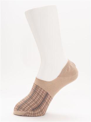 [ストレス0靴下]シルケット千鳥チェック柄超深履きカバーソックス|
