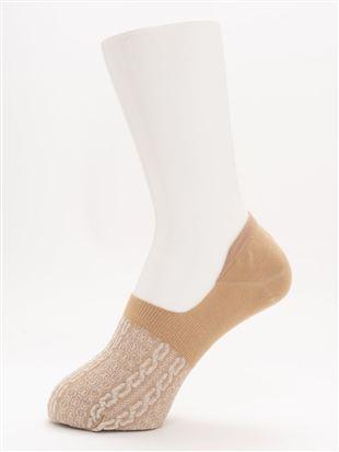 [ストレス0靴下]ラメフロート縄柄超深履きカバーソックス|カバーソックス・フットカバー