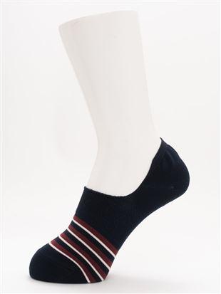 [ストレス0靴下]ボーダー温調深履きカバーソックス カバーソックス・フットカバー