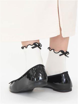 履き口メローバックリボン付きソックス11cm丈|クルーソックス