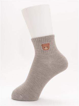 綿混くまさん刺繍アメリブソックス10cm丈 